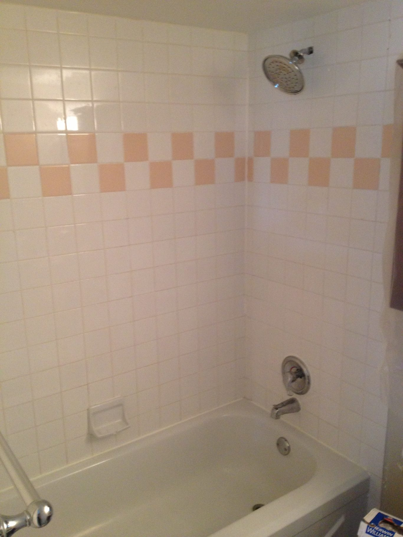 Before-Black Stripe Bathtub Tile Surround