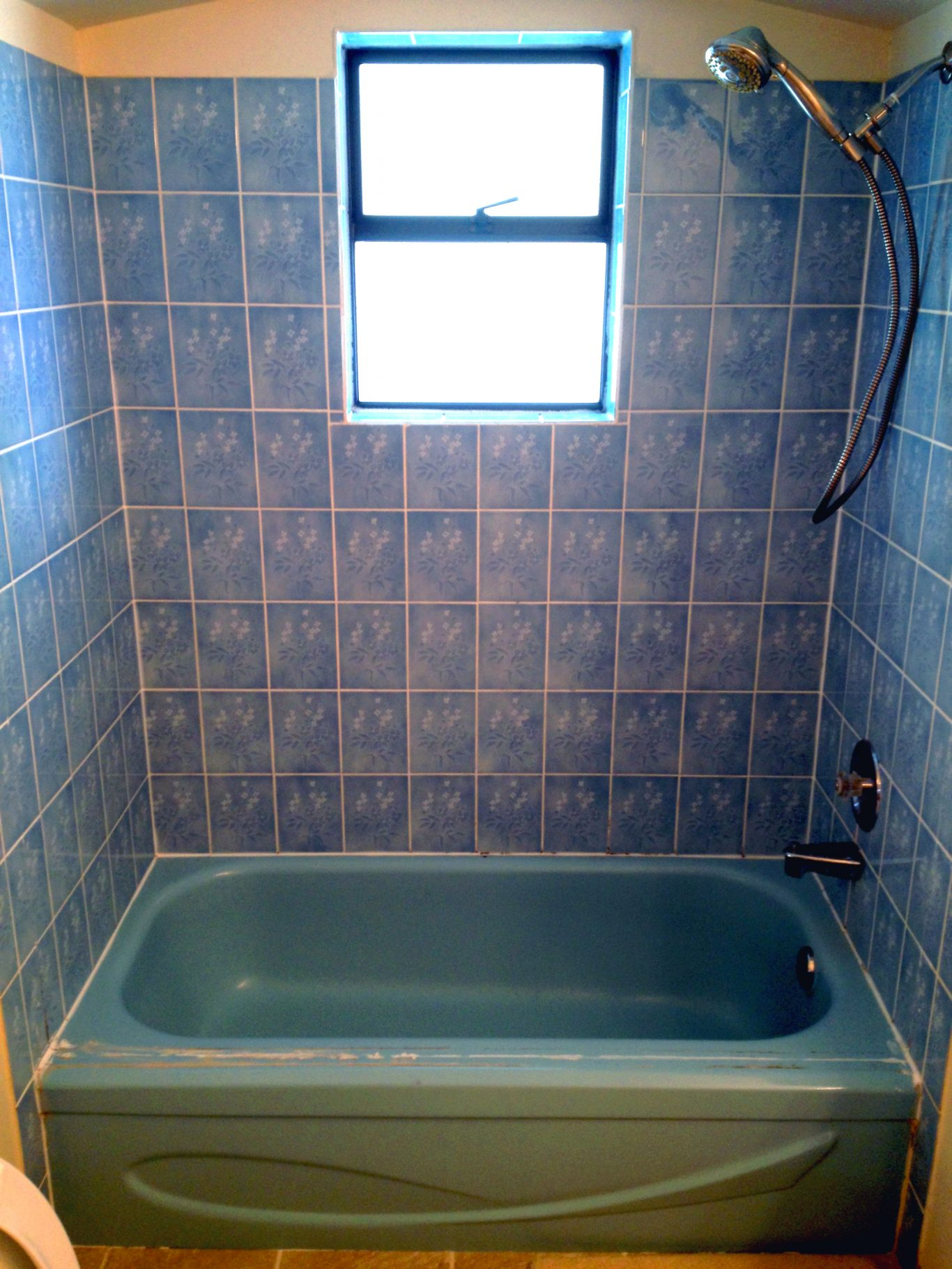 Before-Blue Bathtub Tile Surround