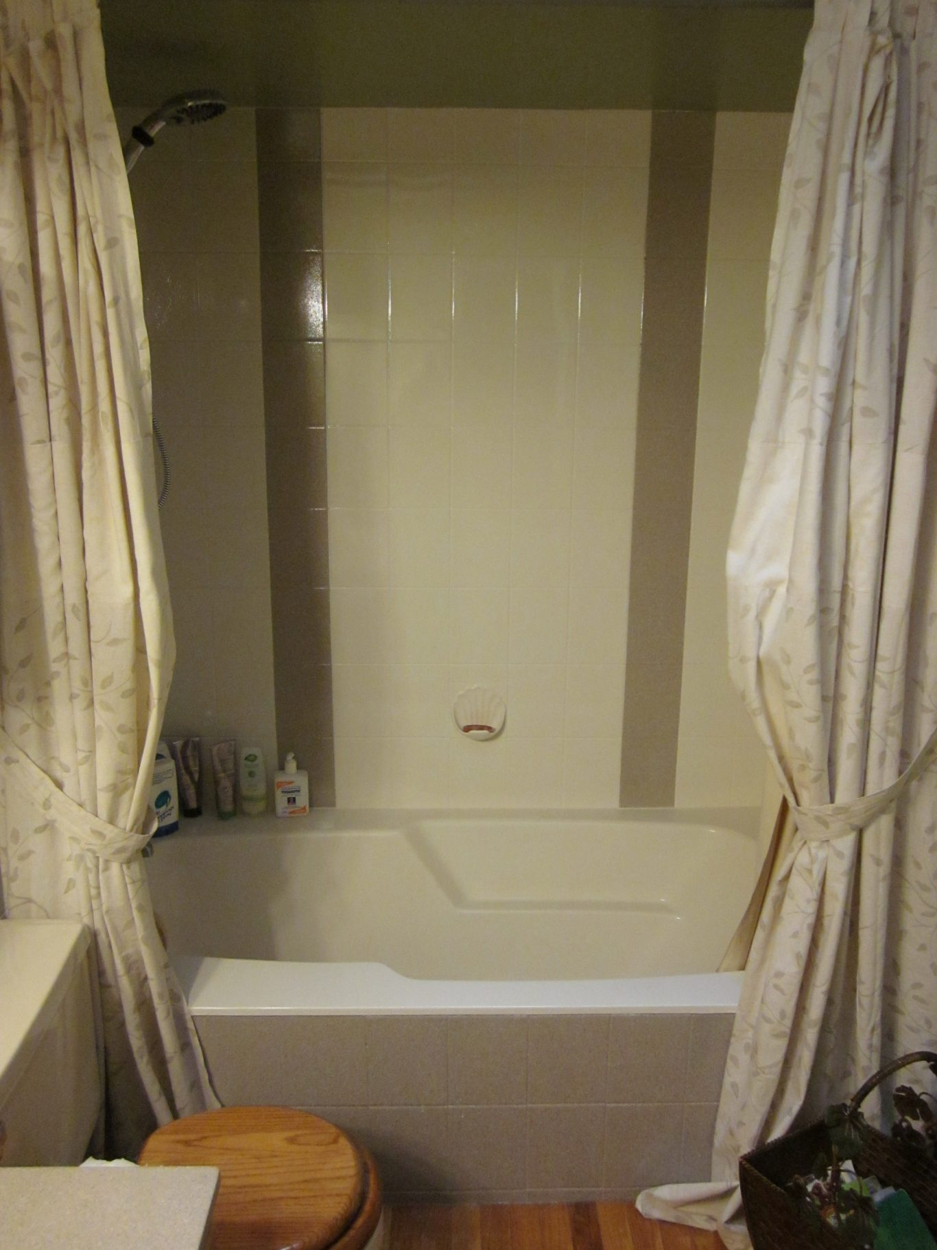 After-Brown Stripes Bathtub Tile Surround