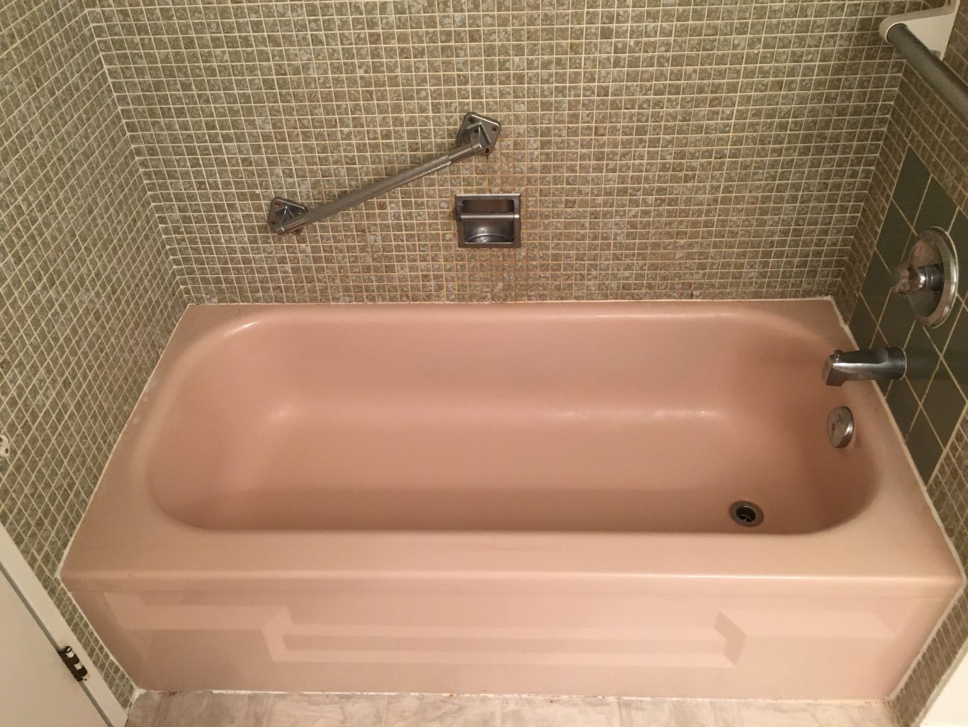 Before-Pink and Grey Bathtub Tile Surround