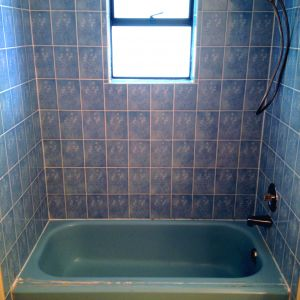Blue Bathtub Tile Surround Refinishing Before
