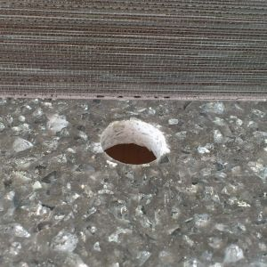 Granite Core Hole Repair Before